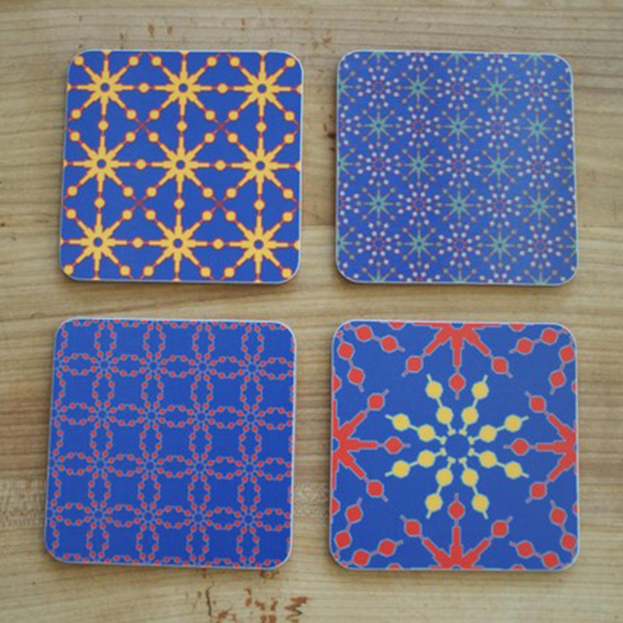 4er Set Coaster / Untersetzer Azulejo blau