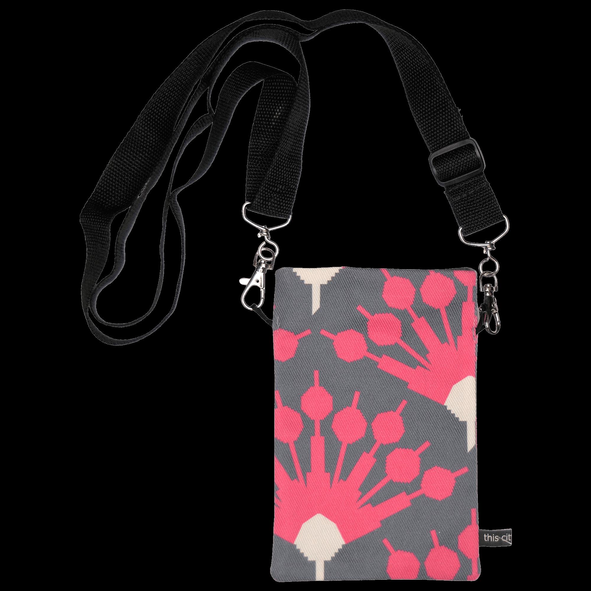 Handytasche zum Umhängen Blumenmuster grau/pink