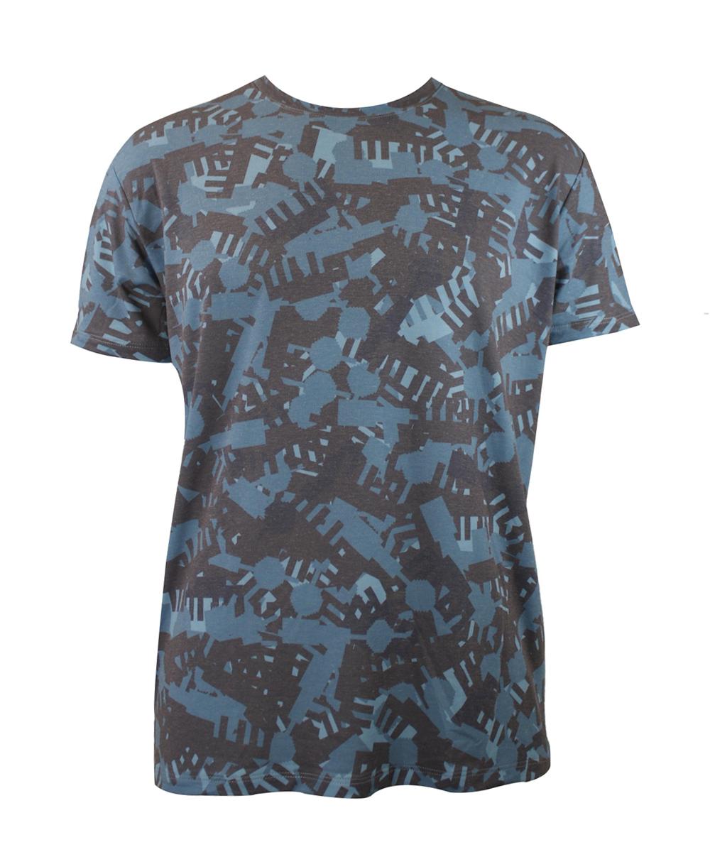 Berlin Design T-Shirt Alloverprint Camouflage blau