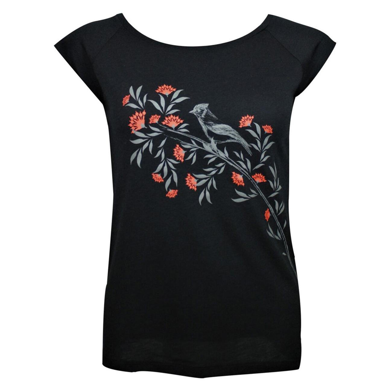 Berlin Design T-Shirt Vogel / Blume schwarz/rot