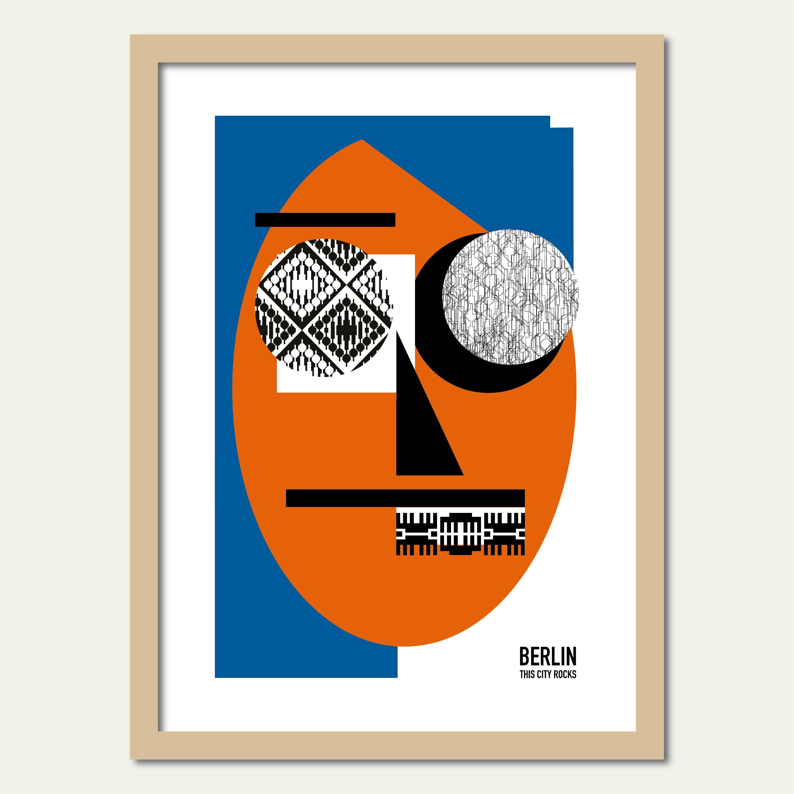 Berlin Poster Face rot/blau