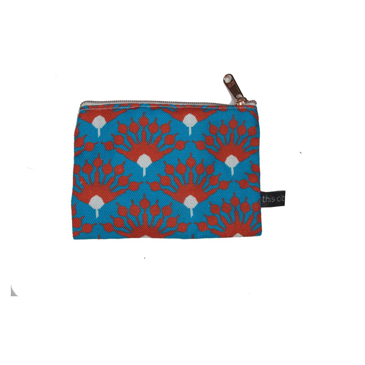 Geldbeutel Fernsehturm Blumen blau/rot