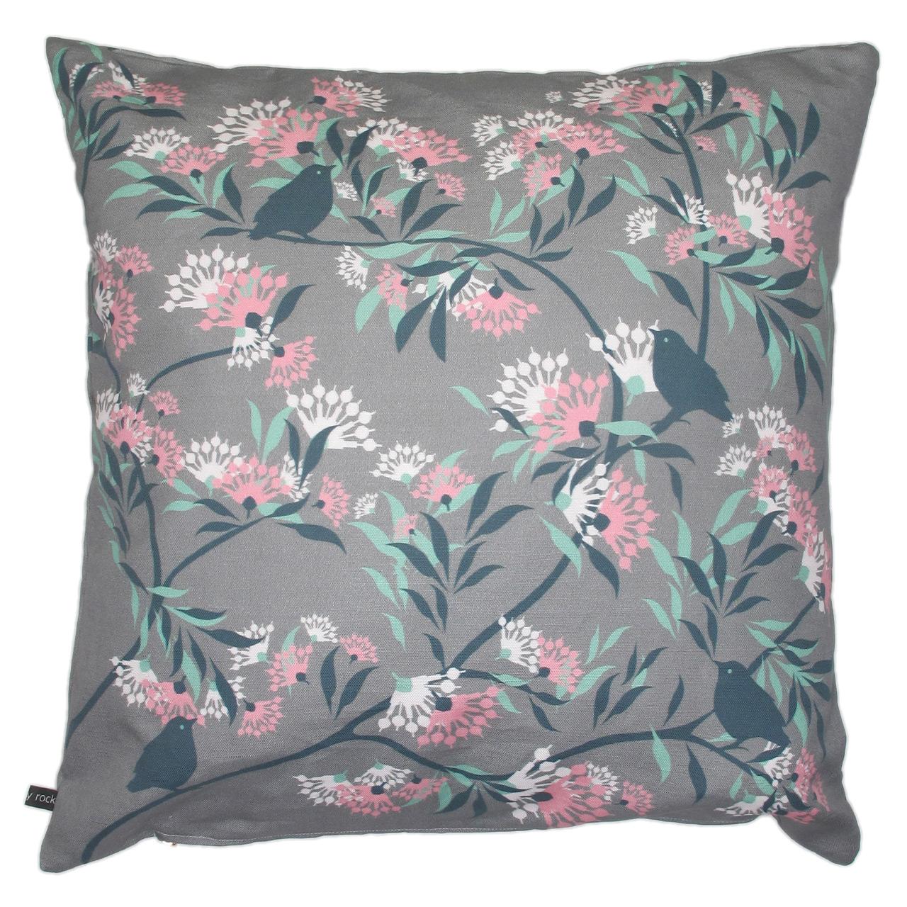 Kissenbezug  Blumen/Vogel rose-bege