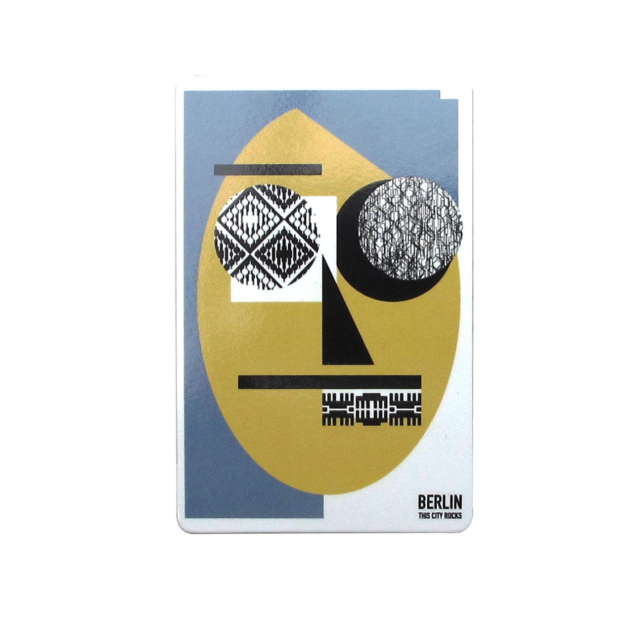 Berlinmagnet Face grau/gelb