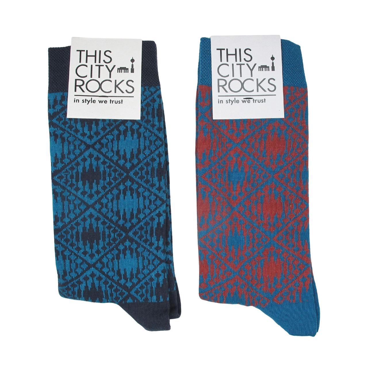Berlin Design Socken, Doppelpack blau + blau/ziegel