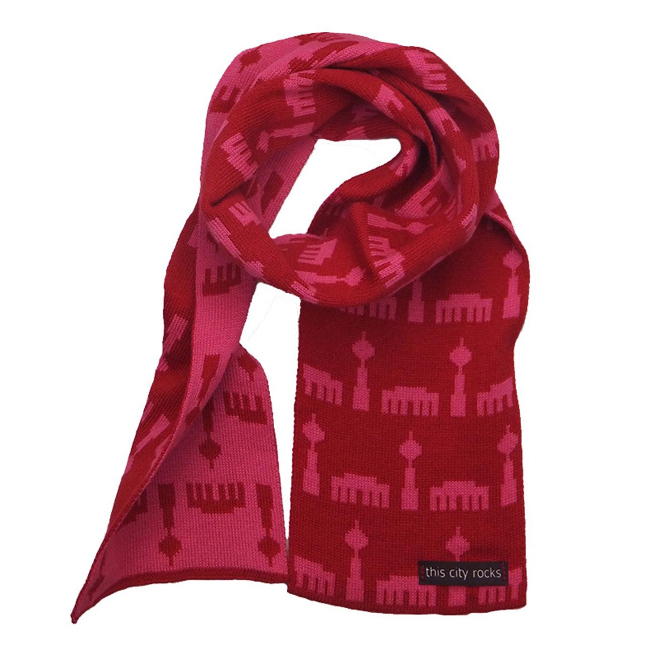 Kinderschal Berliner Design rot/pink