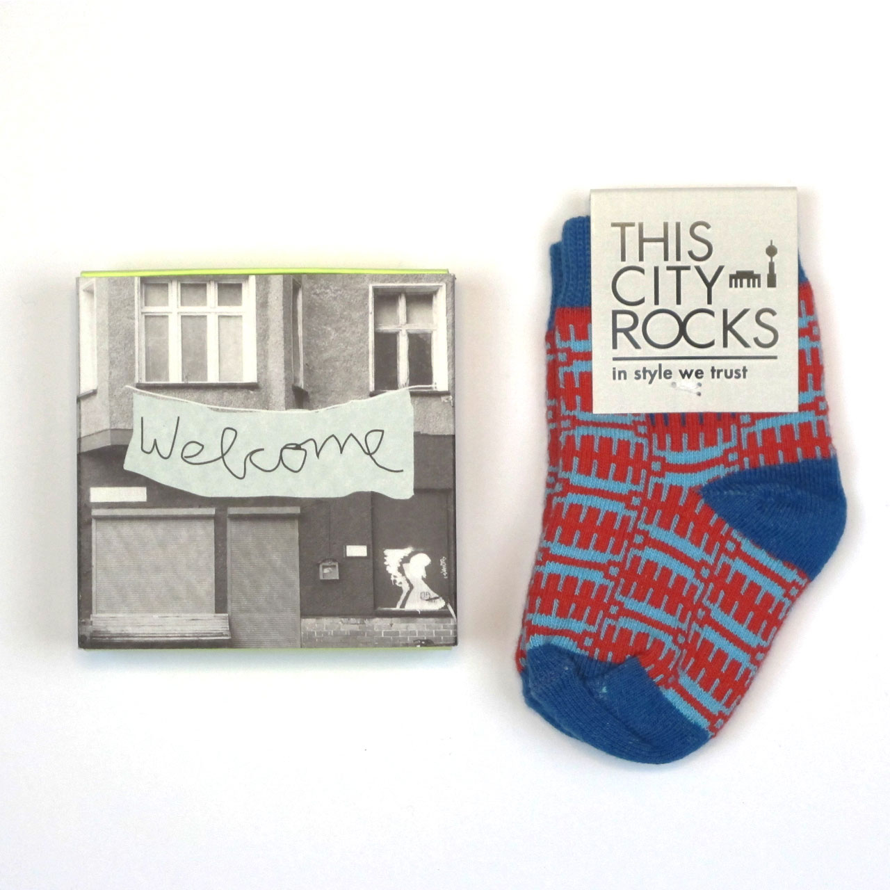 Socks in the Box / Baby Socken  rot-blau