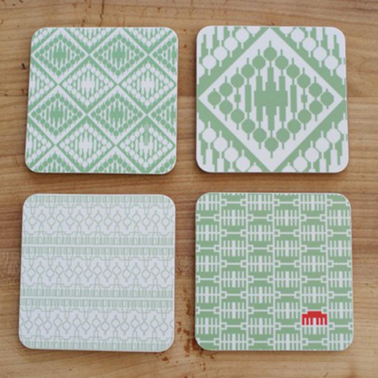 4er Set Coaster / Untersetzer grün