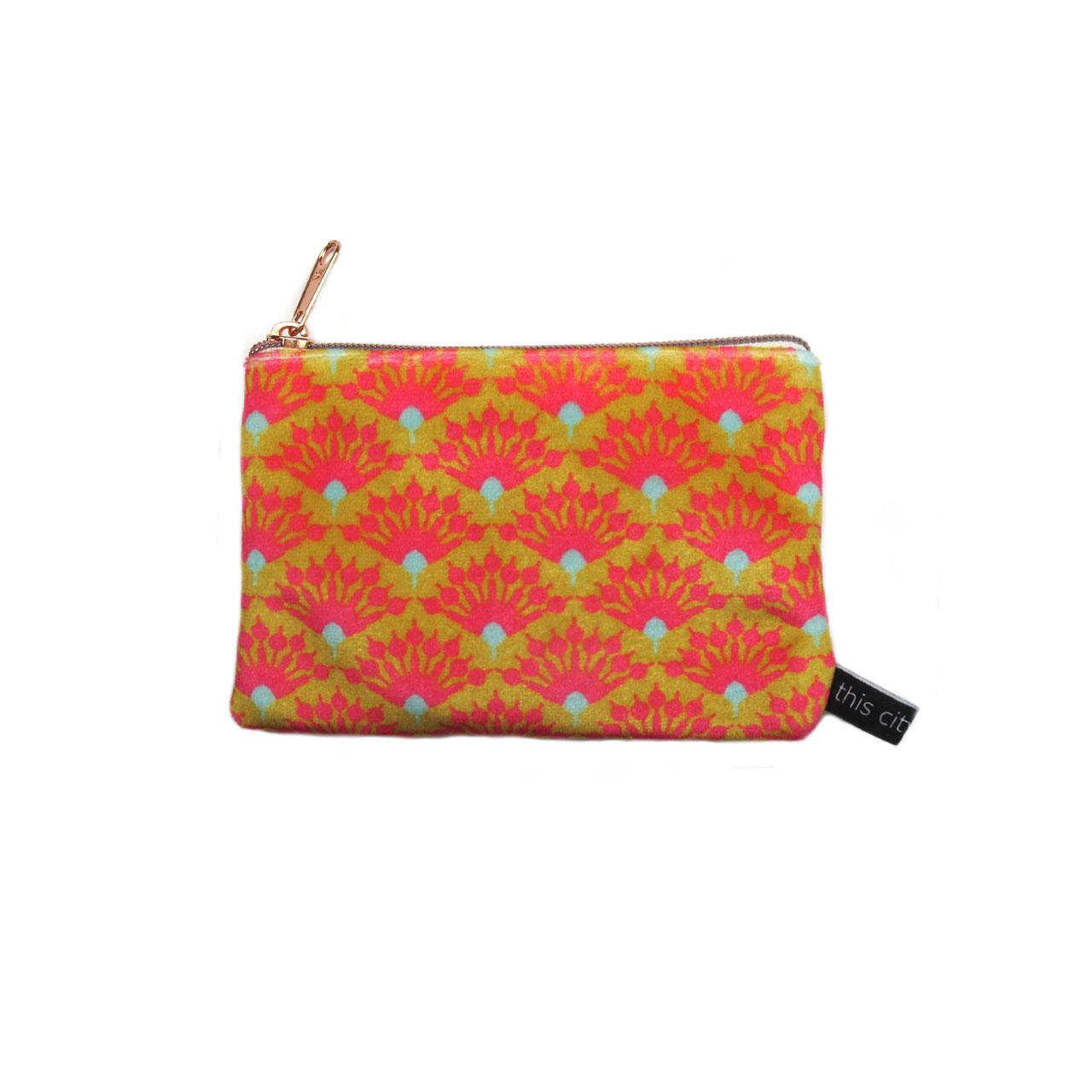 Geldbeutel aus Samt Blumen gelb//pink