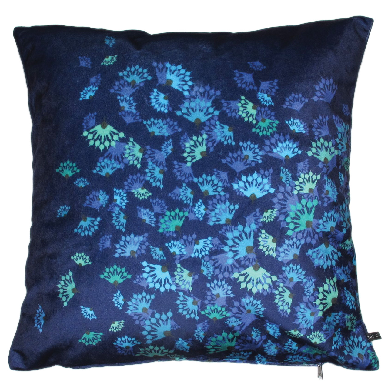 Kissenbezug Samt, Flying Flowers blau