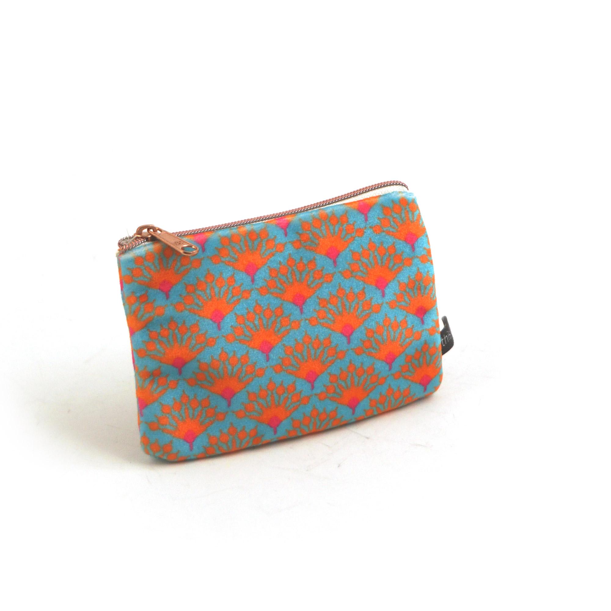 Geldbeutel aus Samt blau/orange