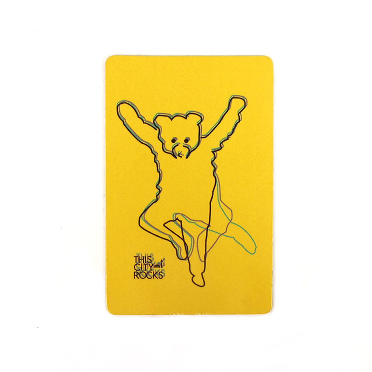 Berlinmagnet tanzender Bär gelb