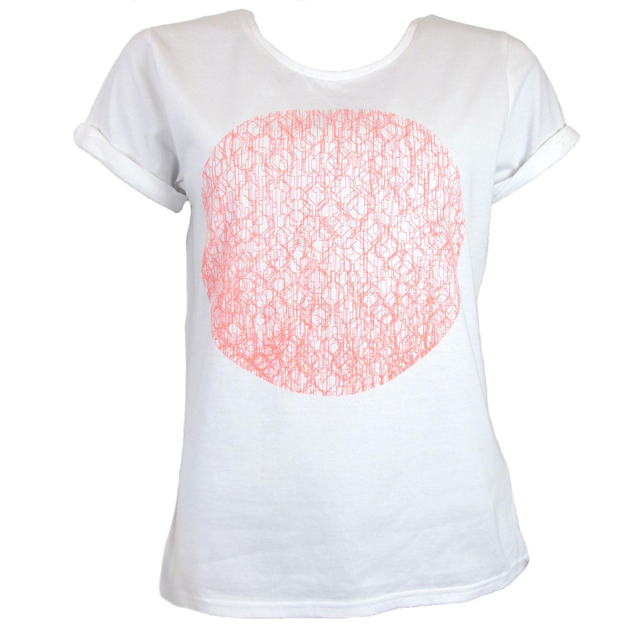 Berlin Design T-Shirt Fernsehturm Kreis weiß/neonorange