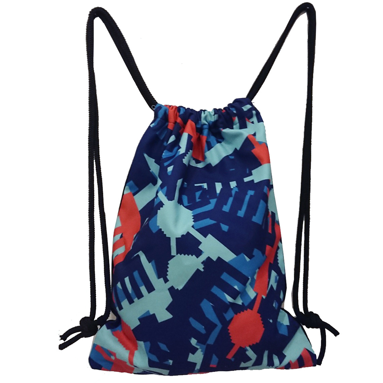Rucksack/Gymbag Allover Camouflage blau/rot