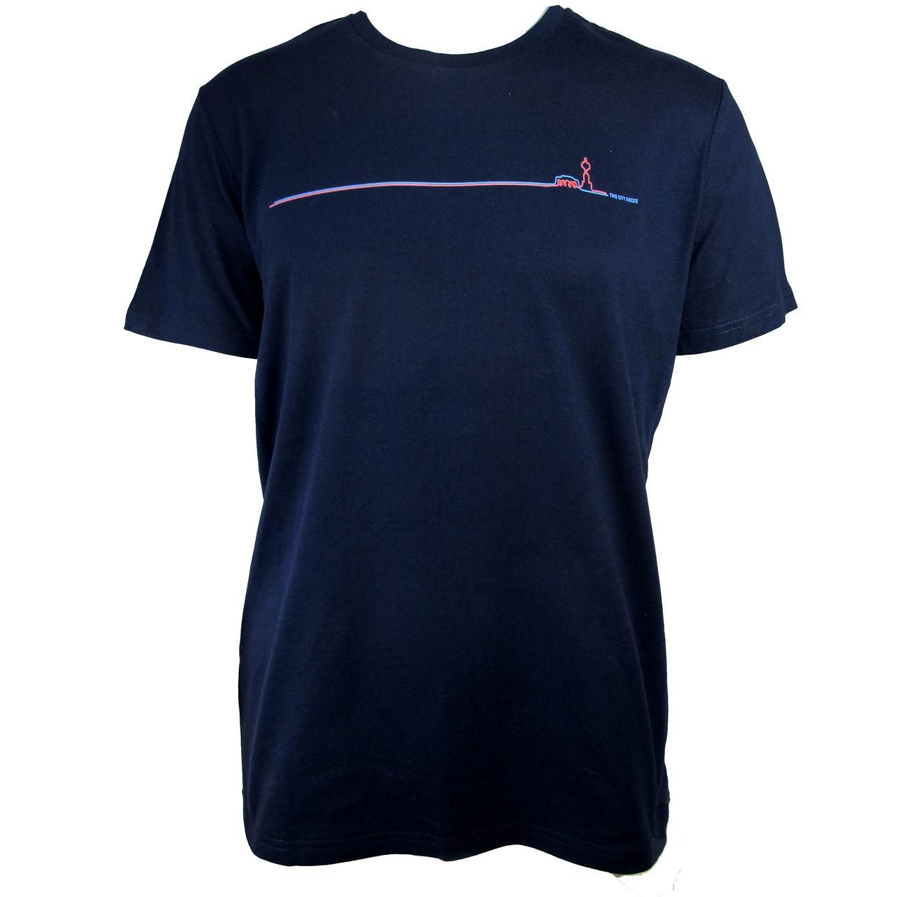 Berlin Design T-Shirt Fernsehturm /Brandenburger Tor blau