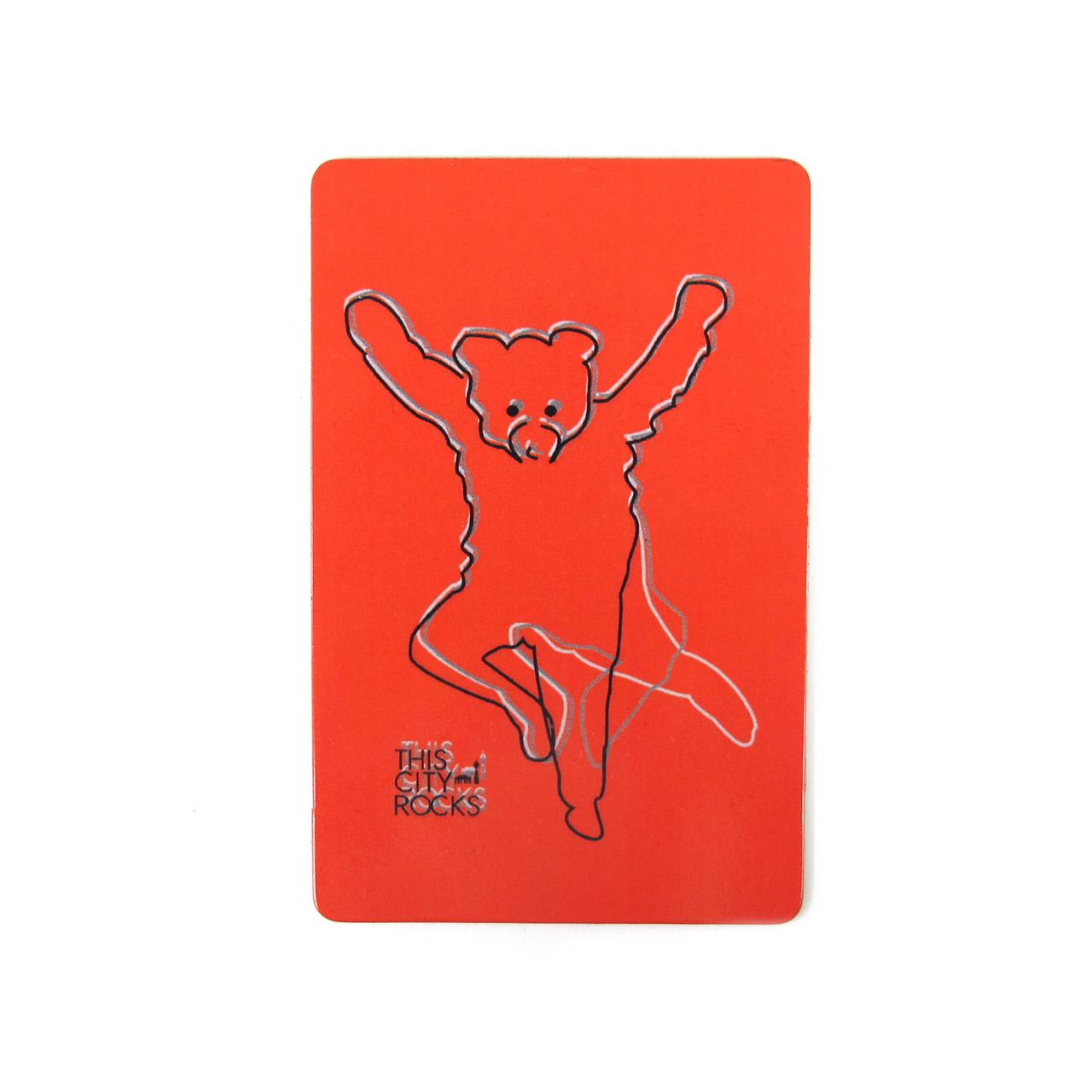 Berlinmagnet tanzender Bär rot
