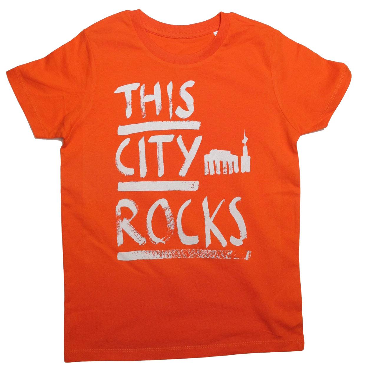 Berlin T-Shirt THIS CITY ROCKS orange/creme