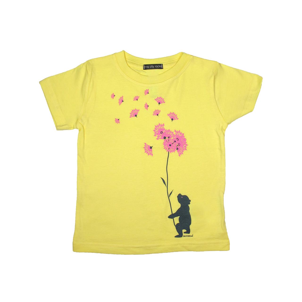 Berlin Design T-Shirt Bär Blumen gelb/rosa