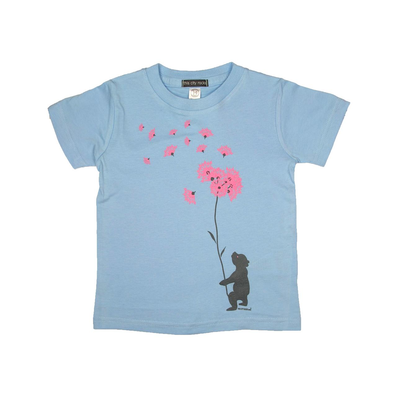 Berlin Design T-Shirt Bär / Blumen hell-blau/rosa