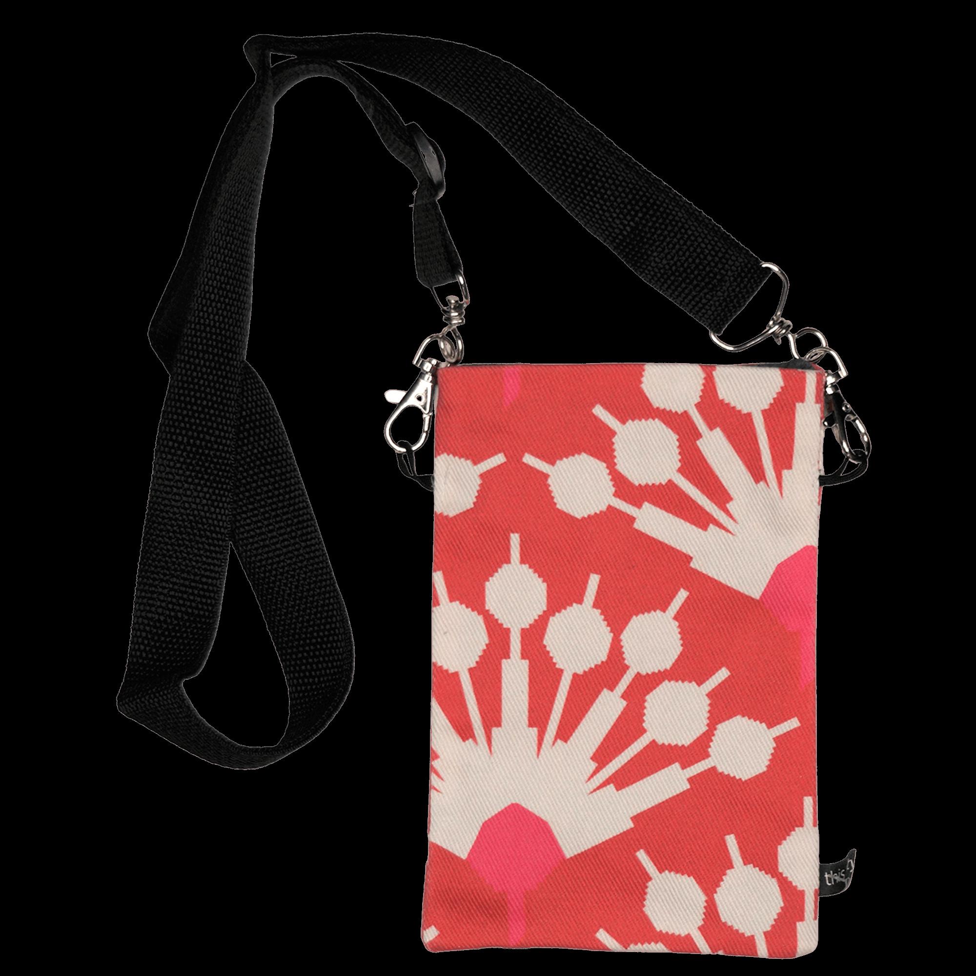 Handytasche zum Umhängen Blumenmuster weiß/rot/pink