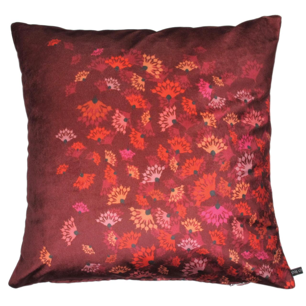 Kissenbezug Samt, Flying Flowers rot