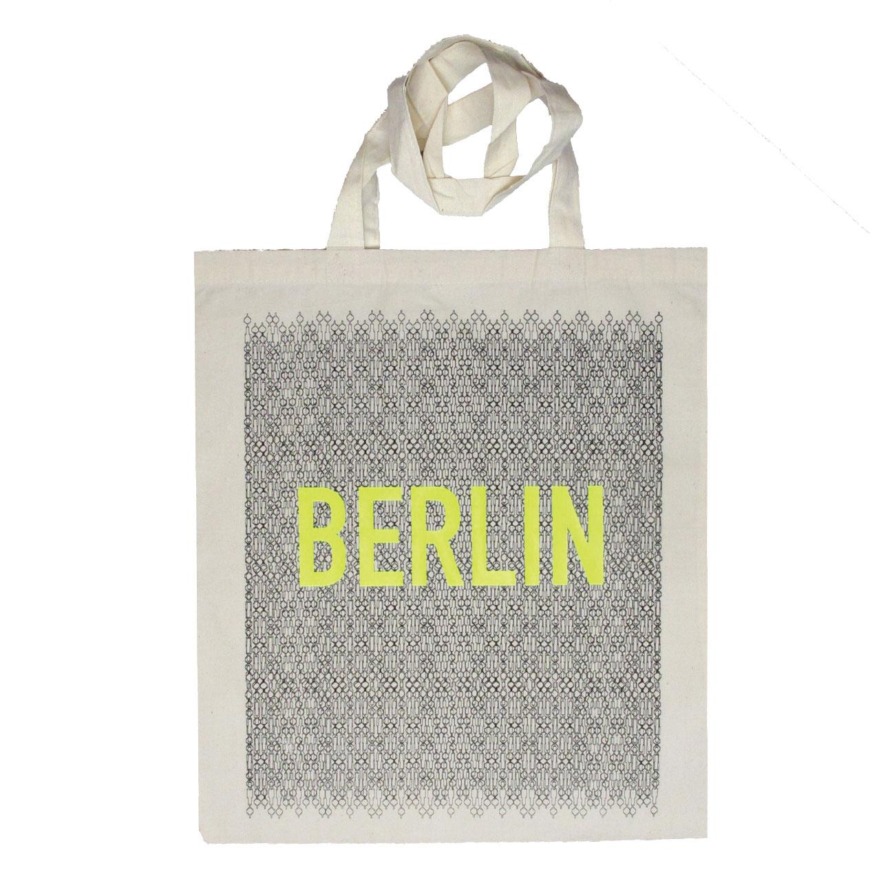 Berlin Jutebeutel Fernsehturm schwarz/neongelb