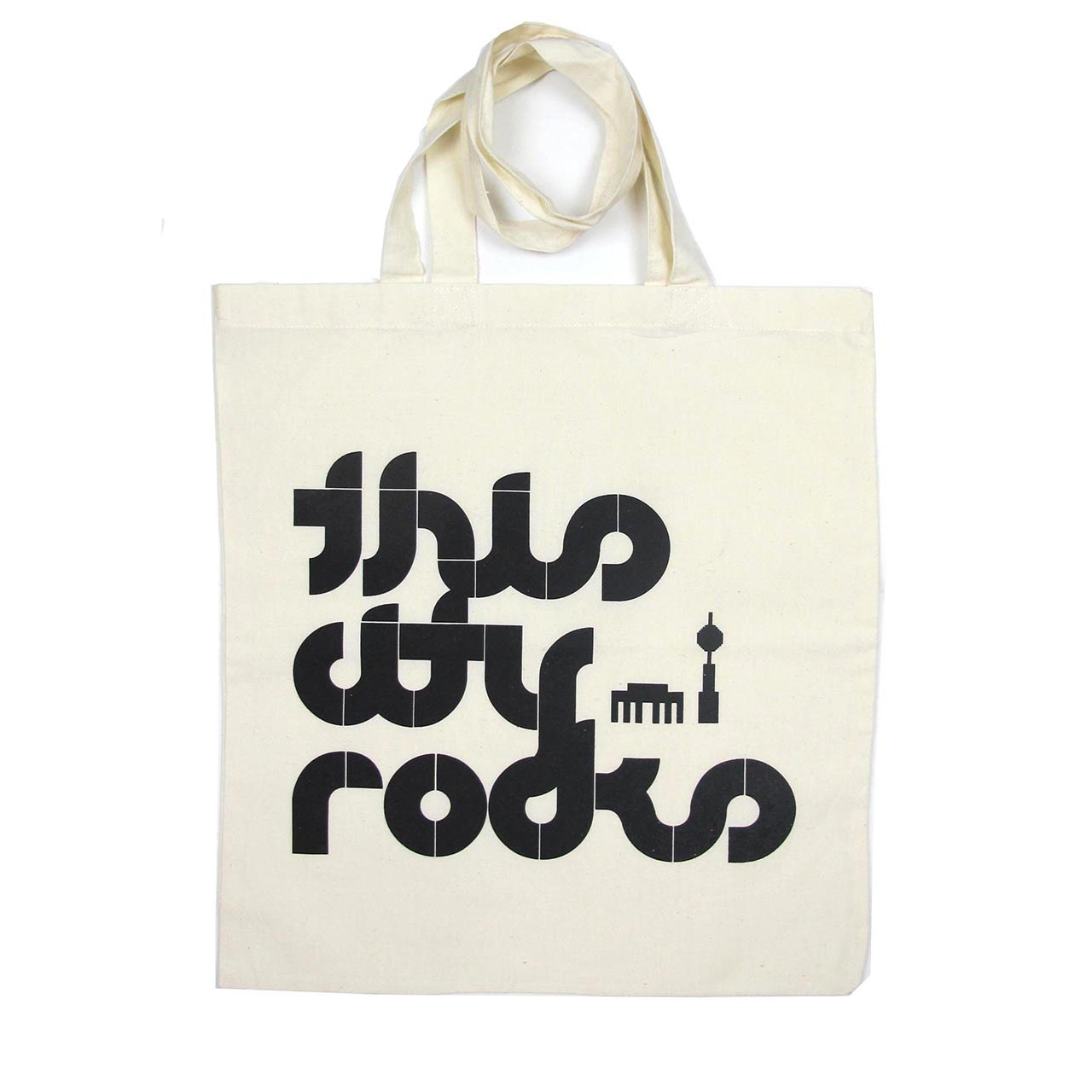 BW-Beutel / Tote Bag This City Rocks weiß/schwarz