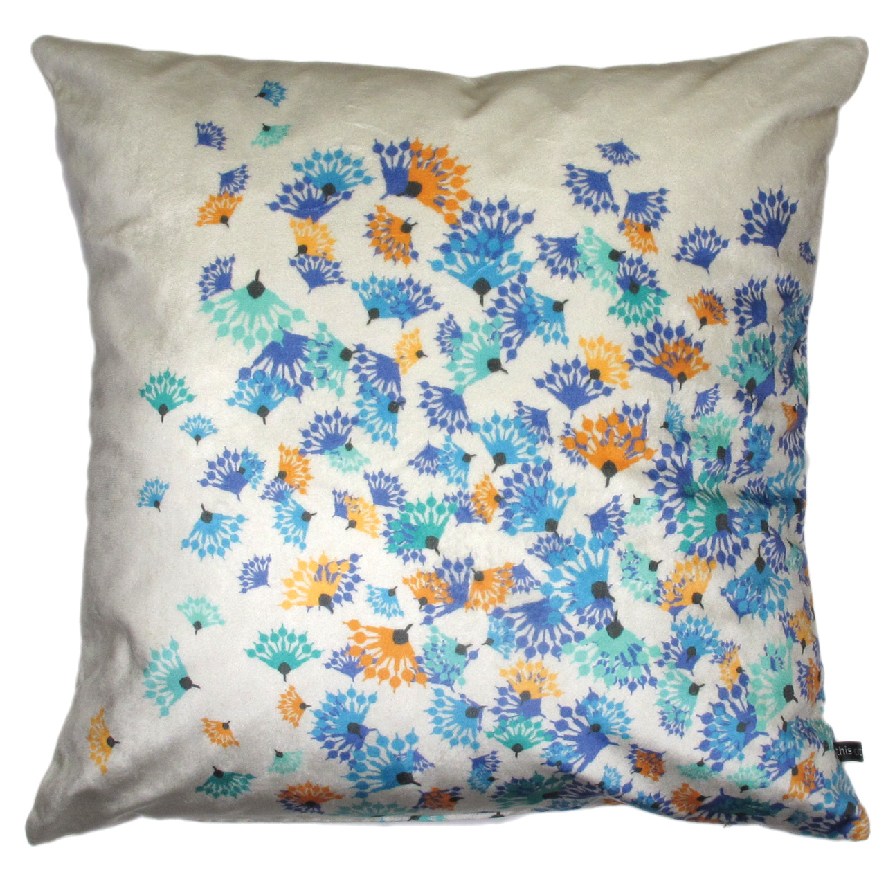 Kissenbezug Samt, Flying Flowers creme
