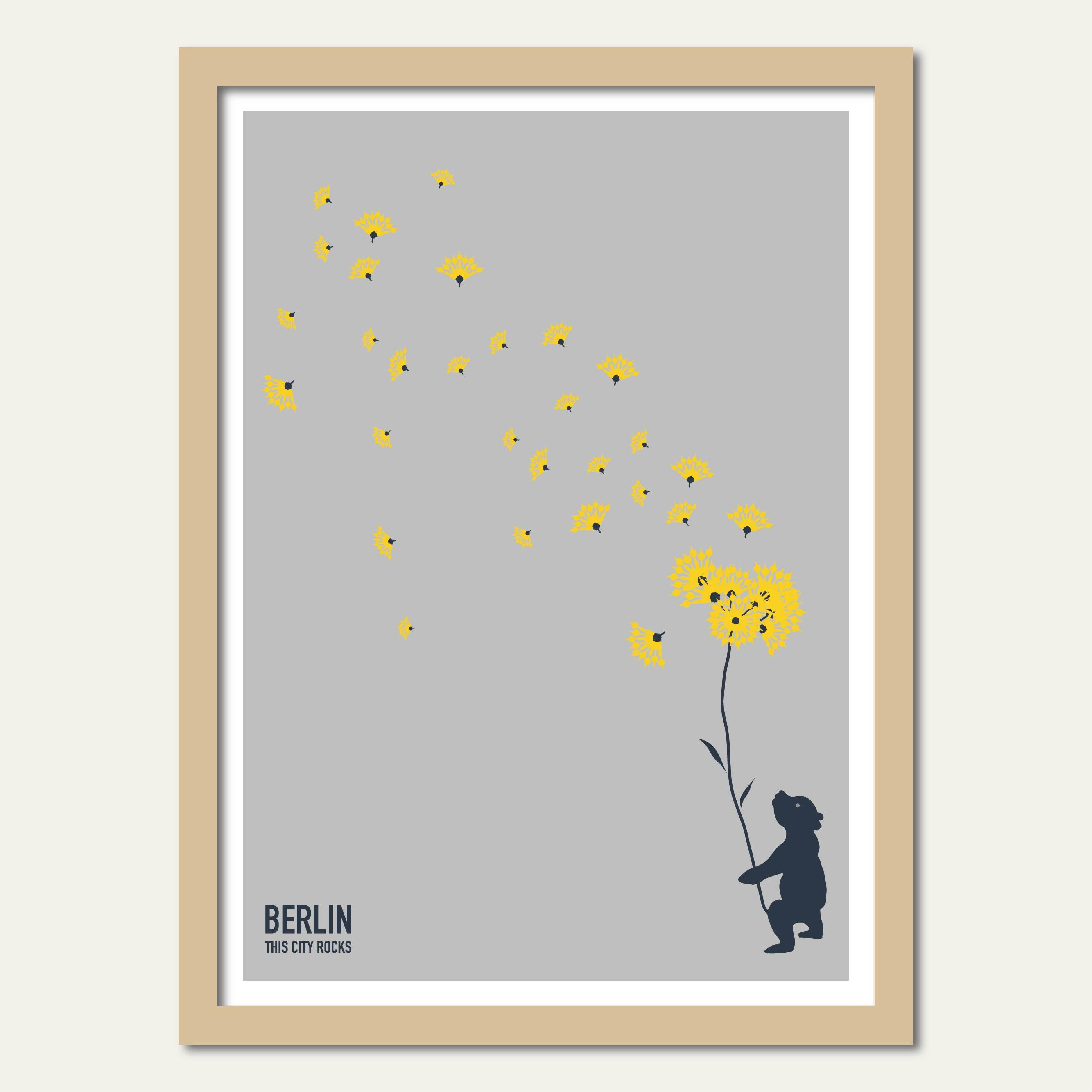 Berlin Poster Bär und Blumen