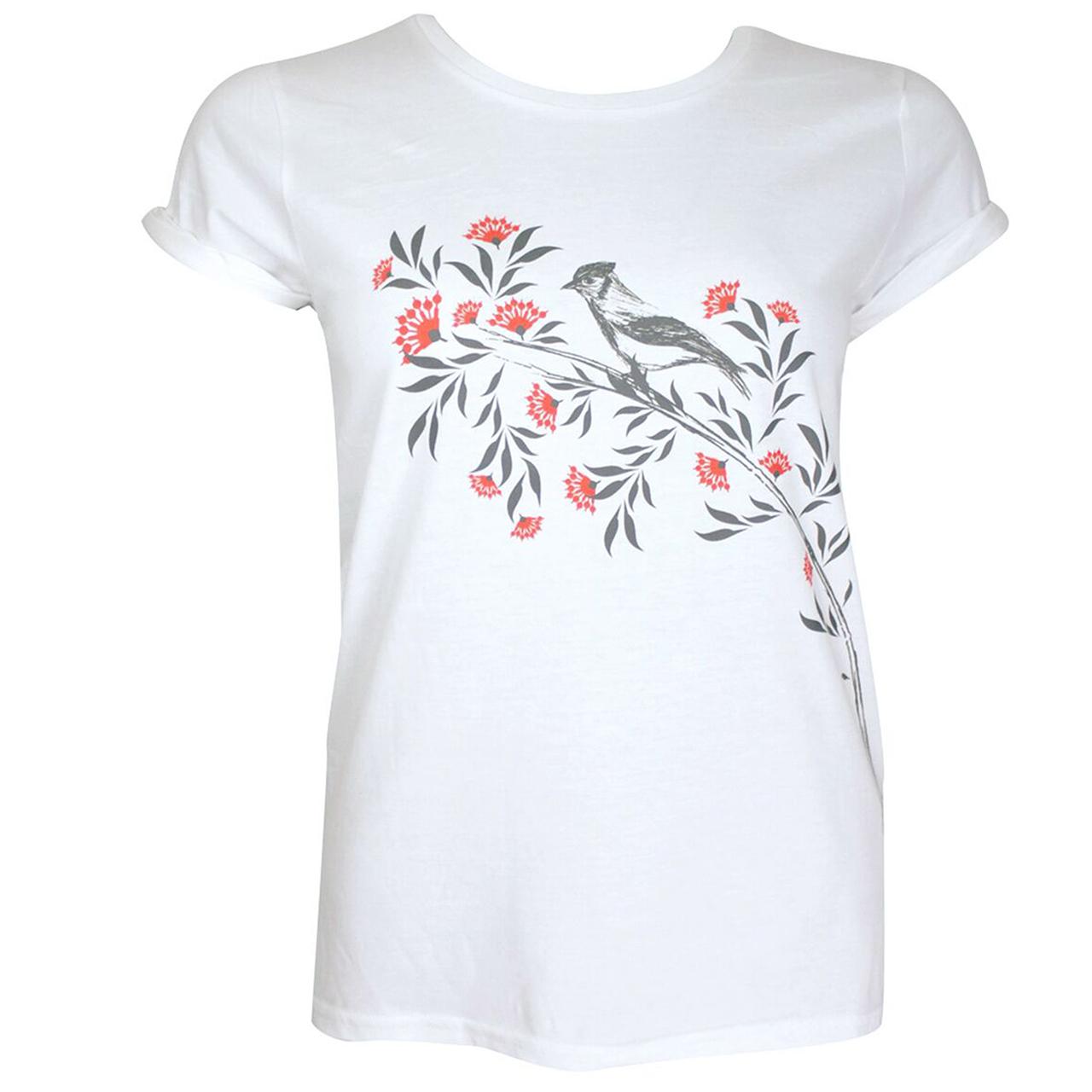 Berlin Design T-Shirt Vogel / Blumen weiß