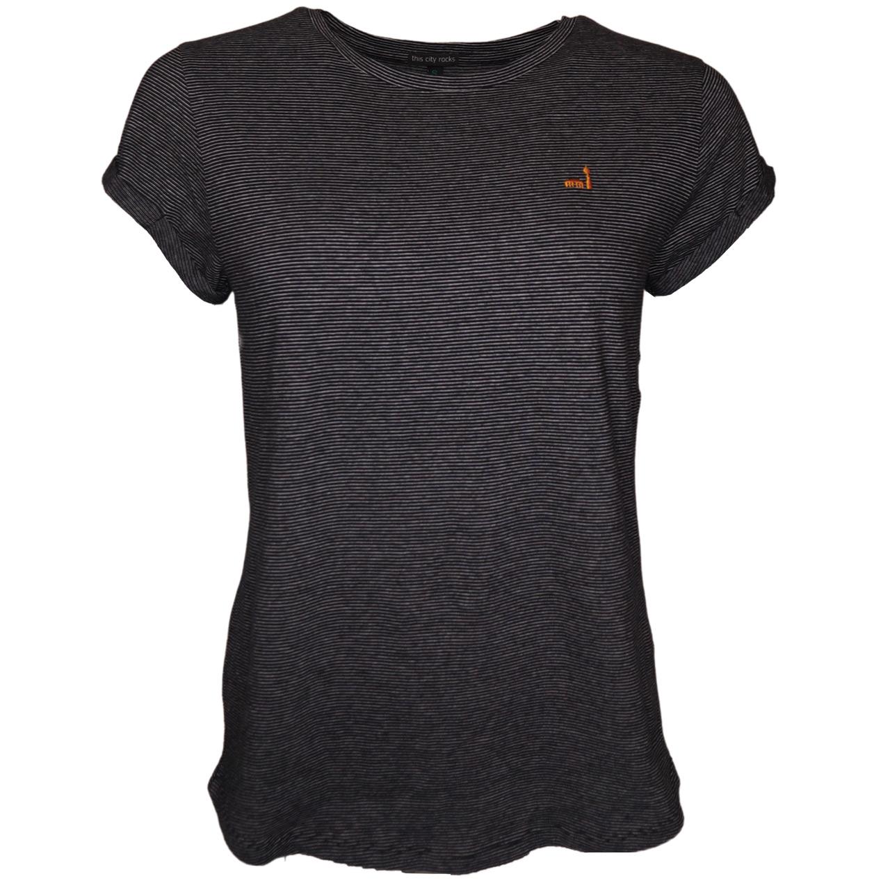 Berlin T-Shirt Streifen Stickerei sw/creme orange
