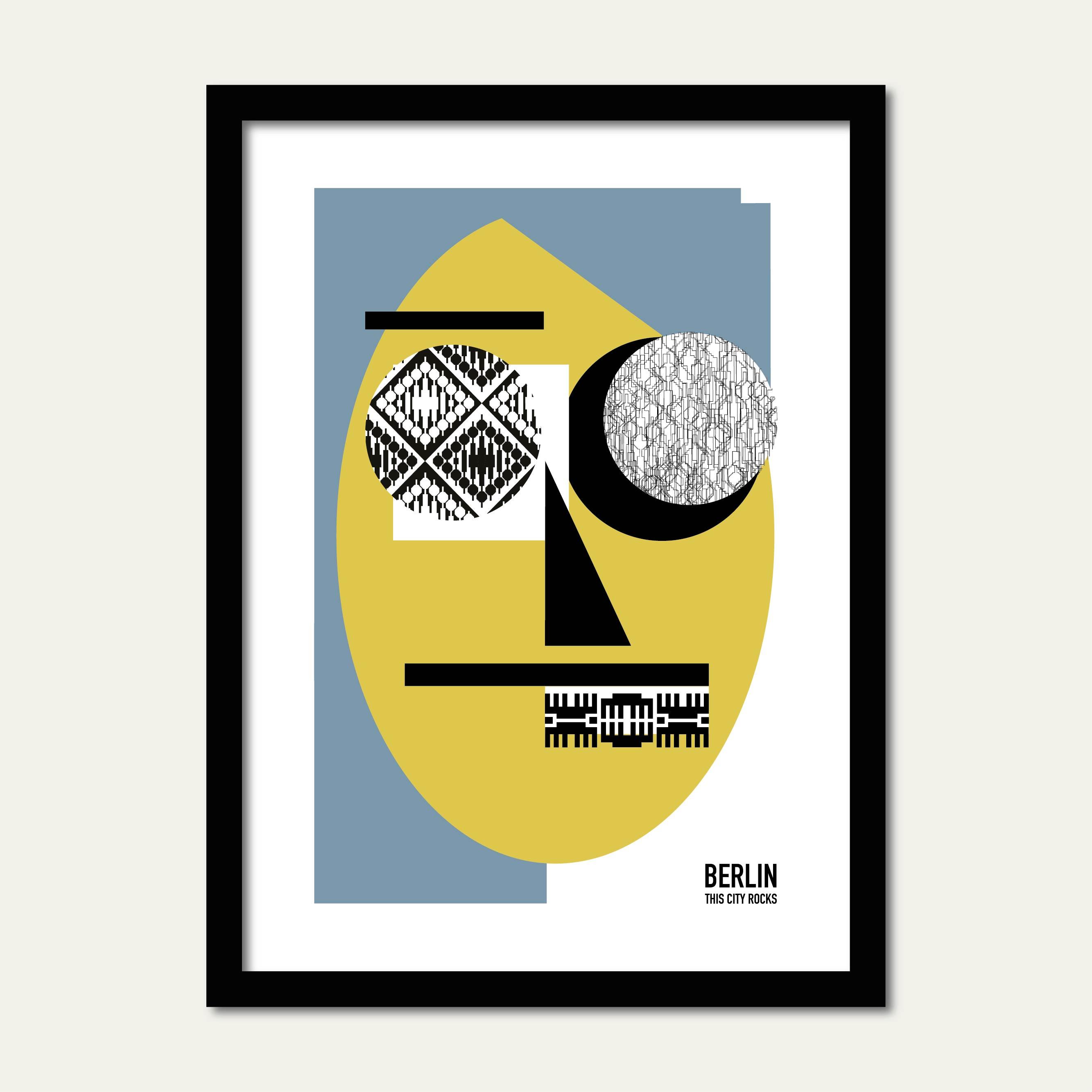 Berlin Poster Face blau/gelb