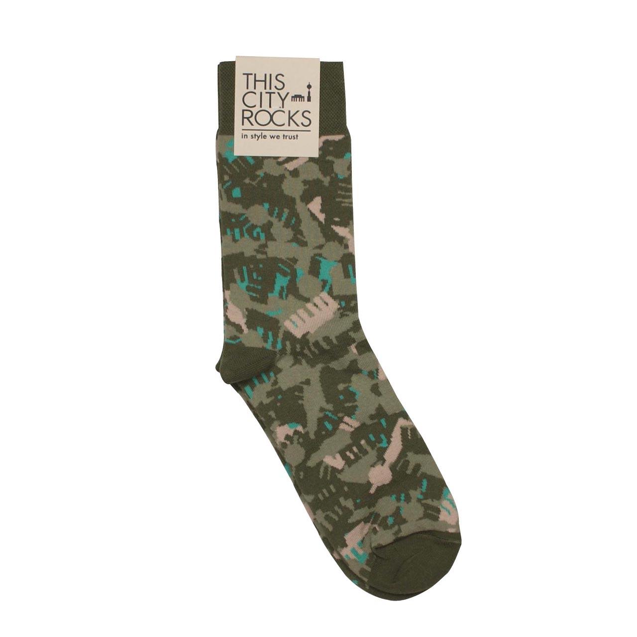 Berlinsocken Camouflage kaki/mint