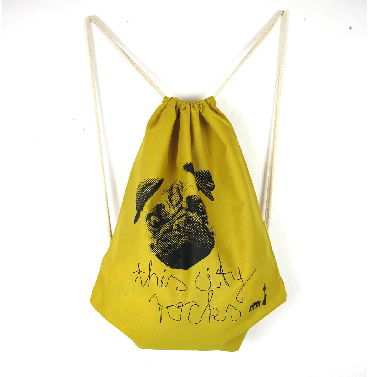 Rucksack/Gymbag Mops gelb