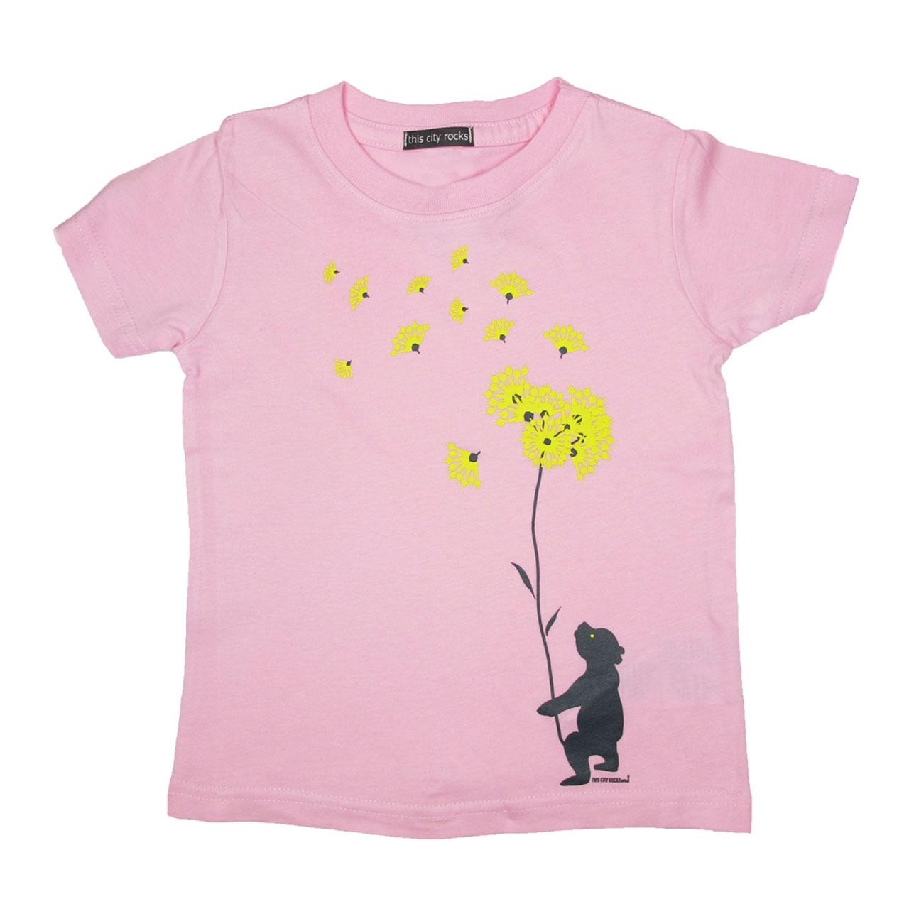 Berlin Design T-Shirt, Berliner Bär Blumen  rosa/gelb