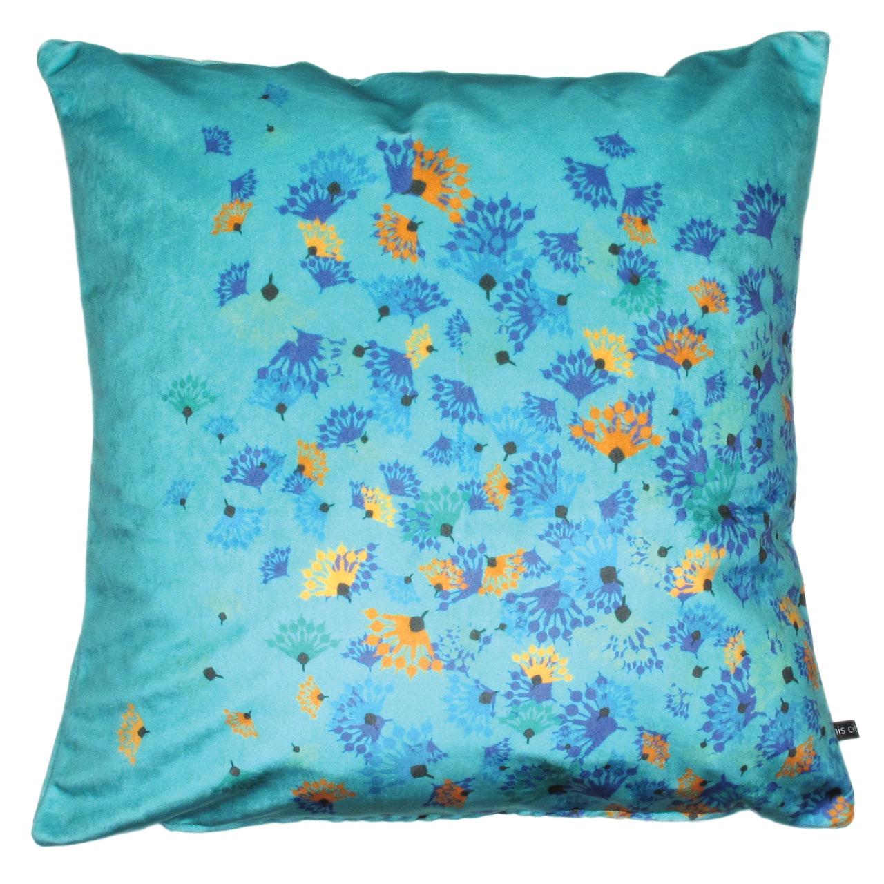 Kissenbezug Samt, Flying Flowers h-blau