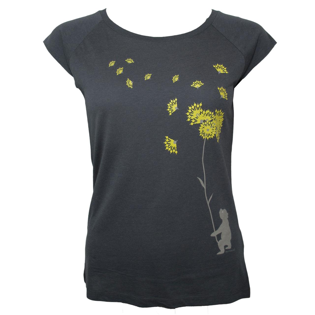 Berlin Design T-Shirt Bär Pusteblume grau/gelb
