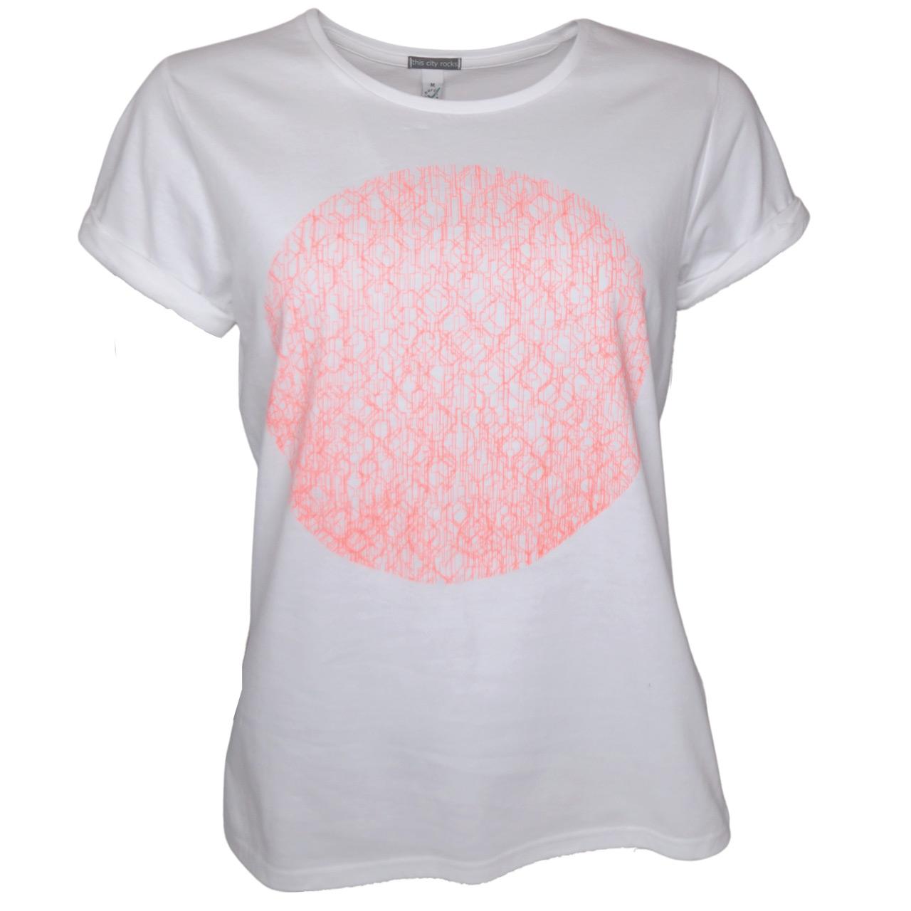Berlin T-Shirt Kreis BW girls weiß/neonorange