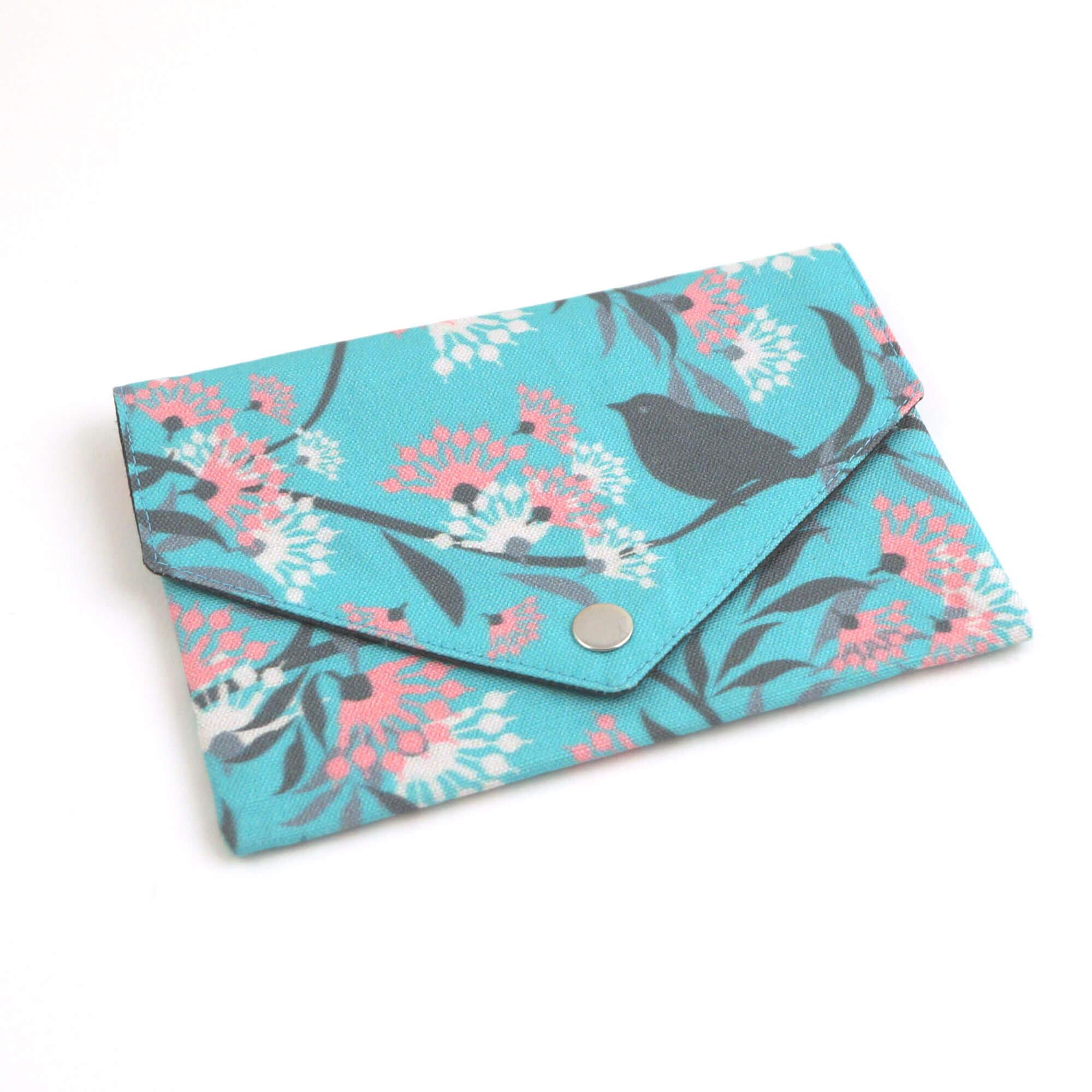 Geldbörse mit Reißverschluss Tasche Blumen mint
