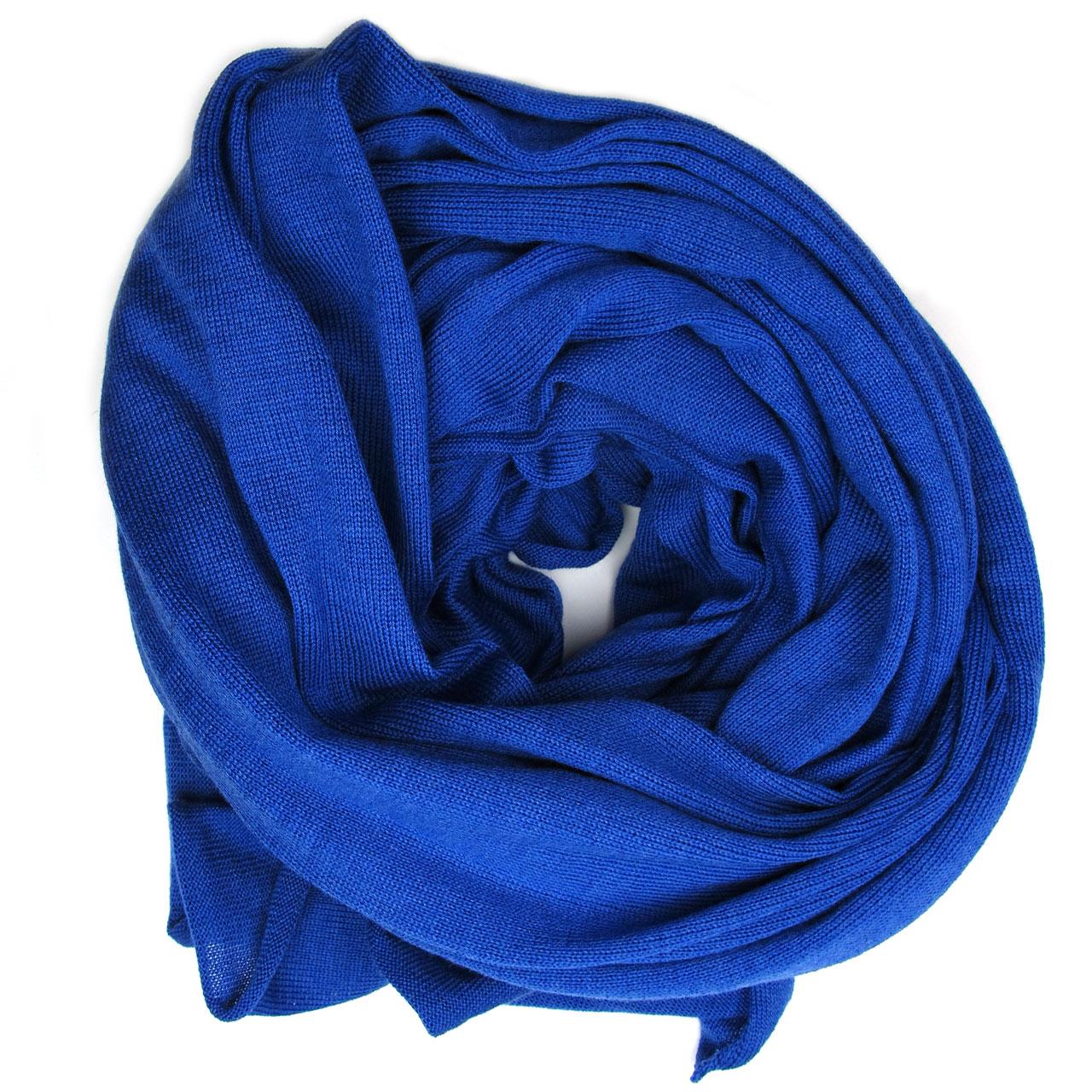 Blauer großer Schal aus Merinowolle