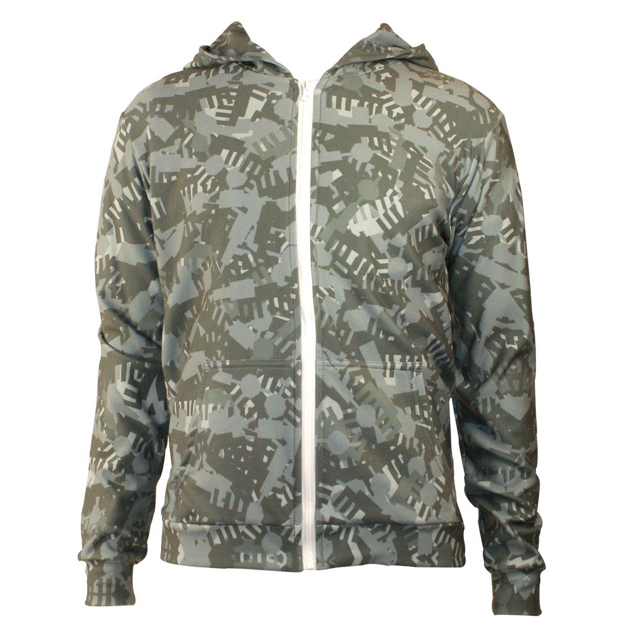 Sweatshirt Hoodie mit zipper Camouflage grau