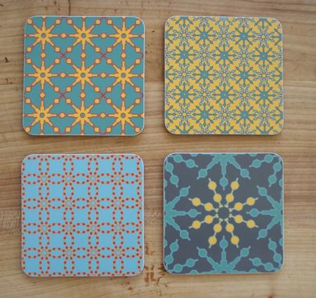 4er Set Coaster / Untersetzer Azulejo farbig
