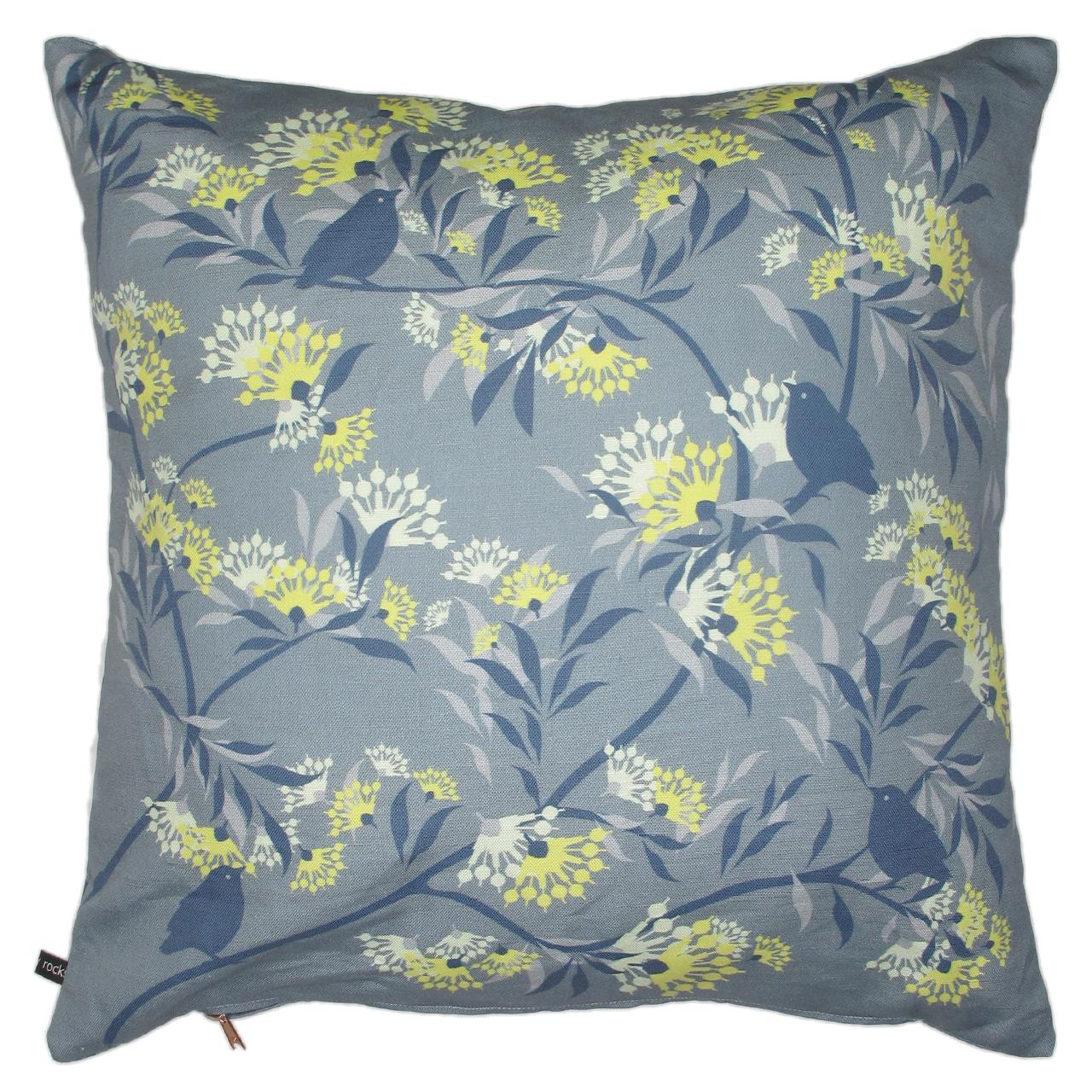 Kissenbezug  Blumen/Vogel gelb grau